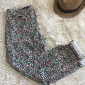 J.Crew Floral Toothpick Ankle Jeans
